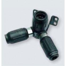 Uttag inkl. snabbkoppling ø25mm till 2 x (ISO B 6)