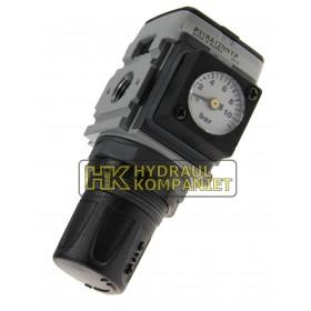 Regulator 0-8bar, G1/4, avluftad, med fyrkants manometer