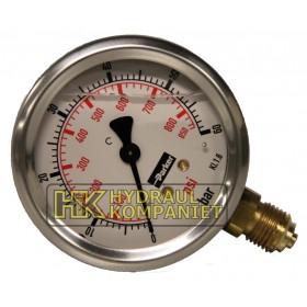 Manometer 63mm 0-100bar sidoanslutning